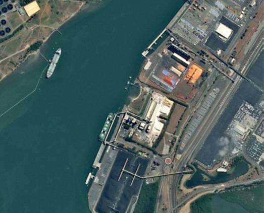 Extrait d'image SPOT 6 du port de Brisbane.